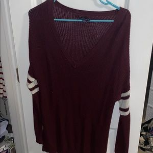 Maroon and cream oversized sweater